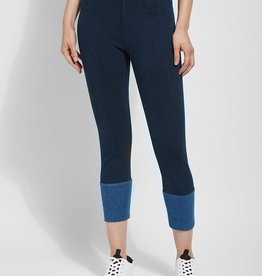 Indigo Crop Leggings w/Back Cuff Snaps