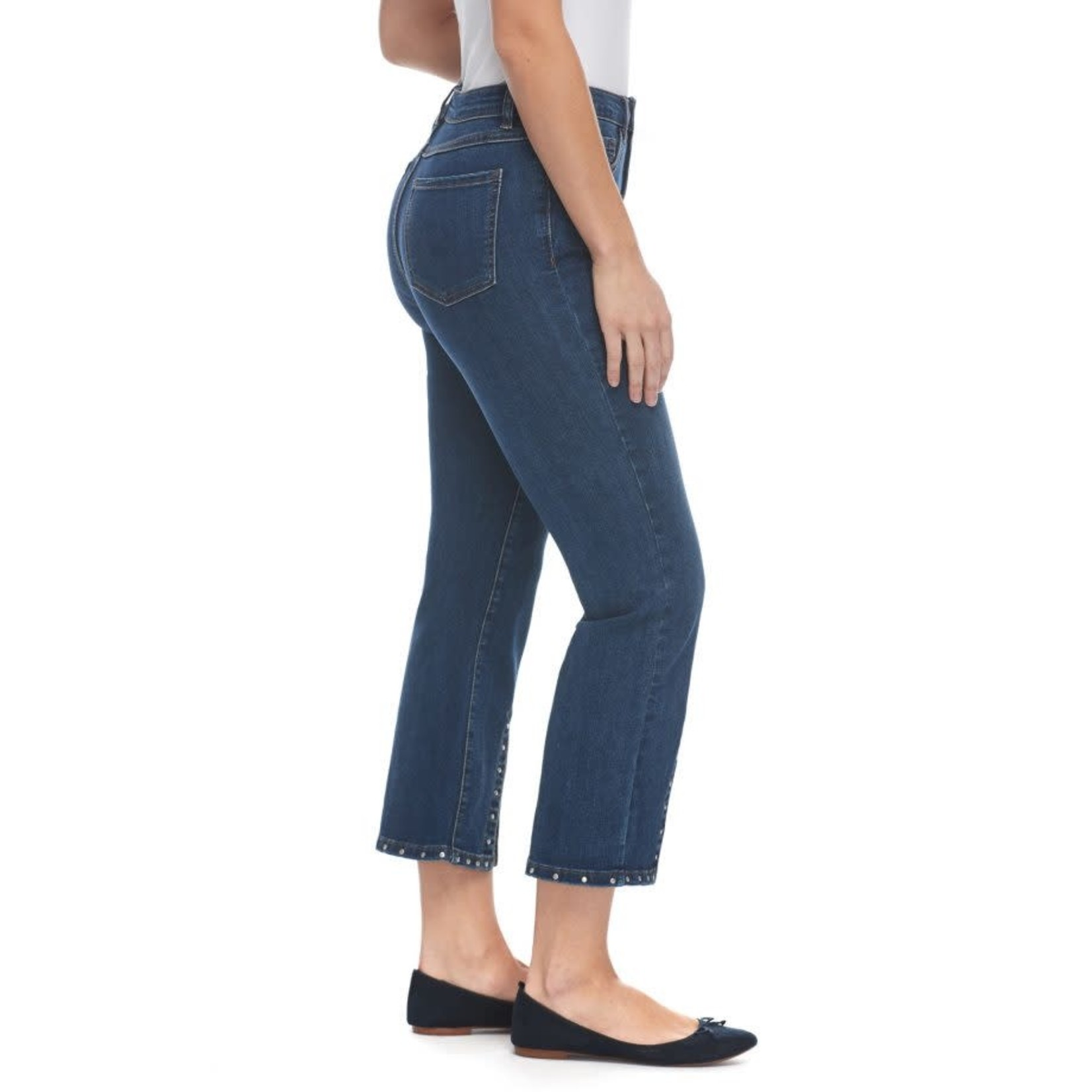Olivia Flare Jeans w/ FrontSlit and RivetTrim