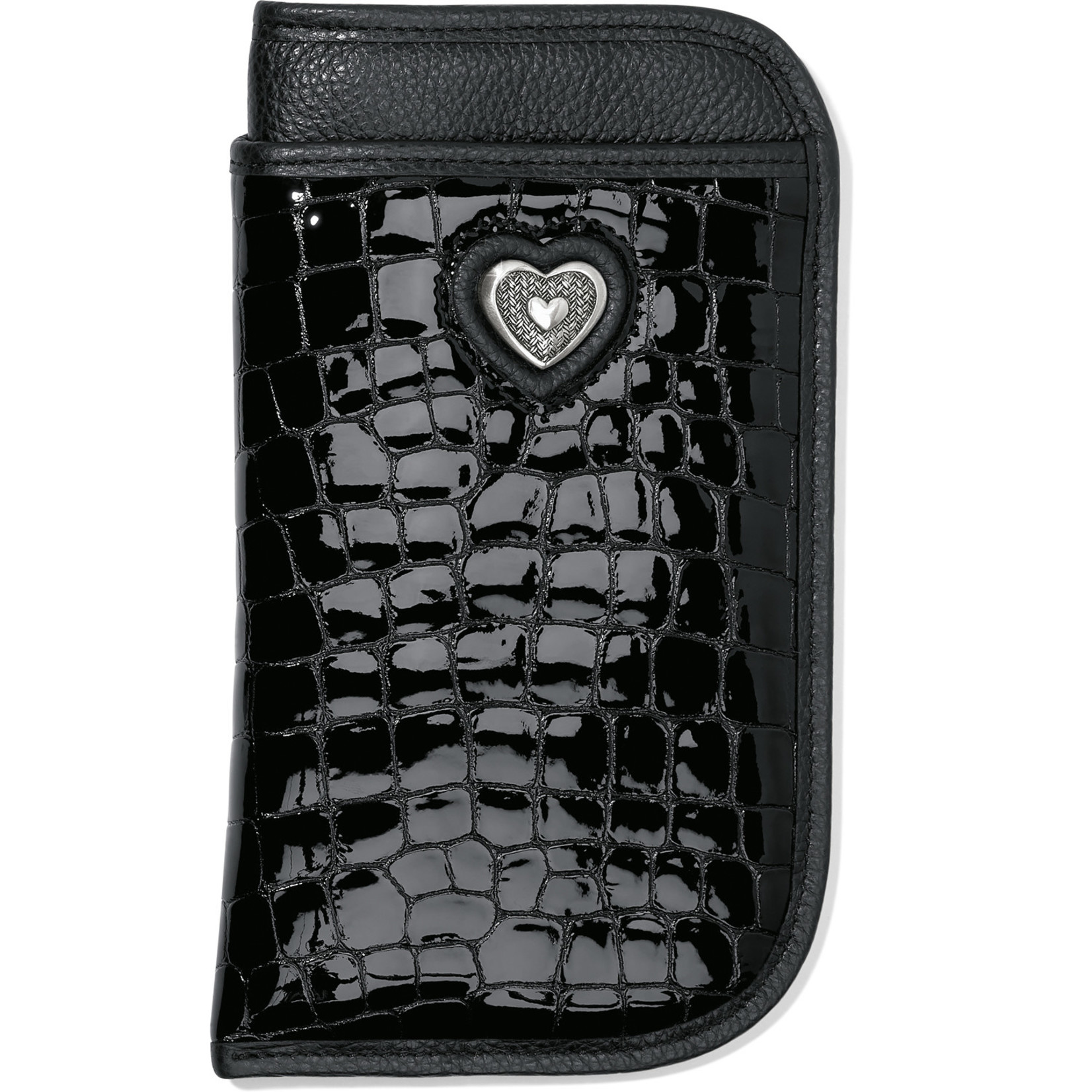 Brighton Bellissimo Heart Double Eyeglass Case Blk Patent Croco