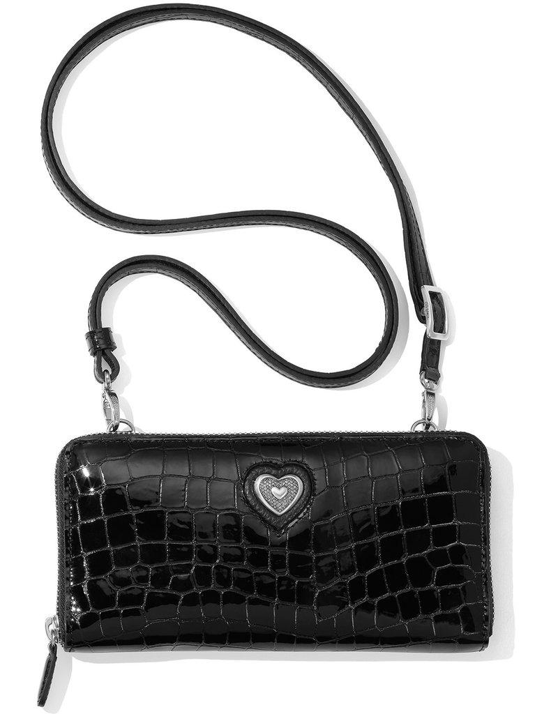 Brighton Bellissimo Heart Zip Wallet Black Patent Croco