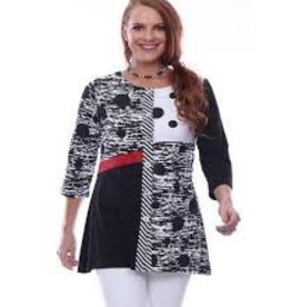 Parsley and Sage Jenna Embroidered Tunic B/W Polka Dot Detail/Red Strip