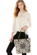 Brighton Marlee Embroidered Tote Wild Garden Black-Natural