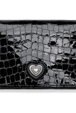 Brighton Bellissimo Heart Folio Wallet Black Patent Croco
