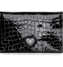 Brighton Bellissimo Heart Folio Wallet Black Patent Croco