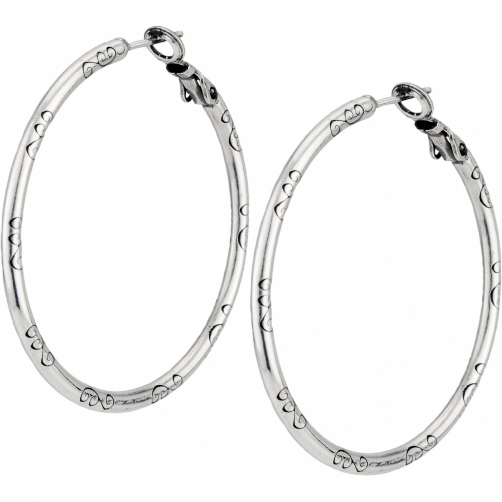 Brighton Large Earring Charm Hoop Silver