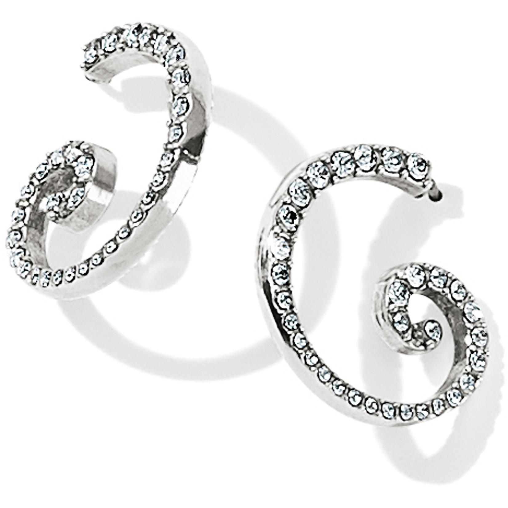 Brighton Sea Of Love Crystal Hoop Earrings Silver