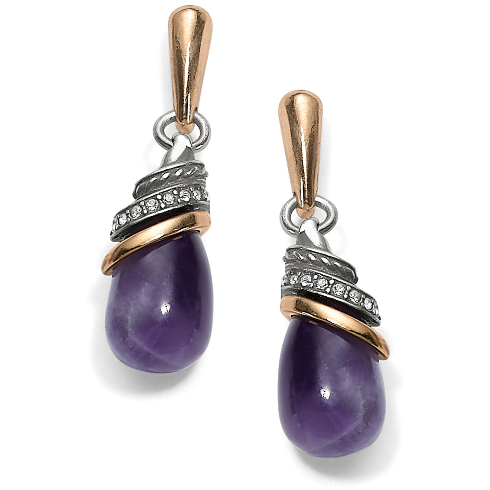 Brighton Neptune's Rings Amethyst Teardrop Earrings