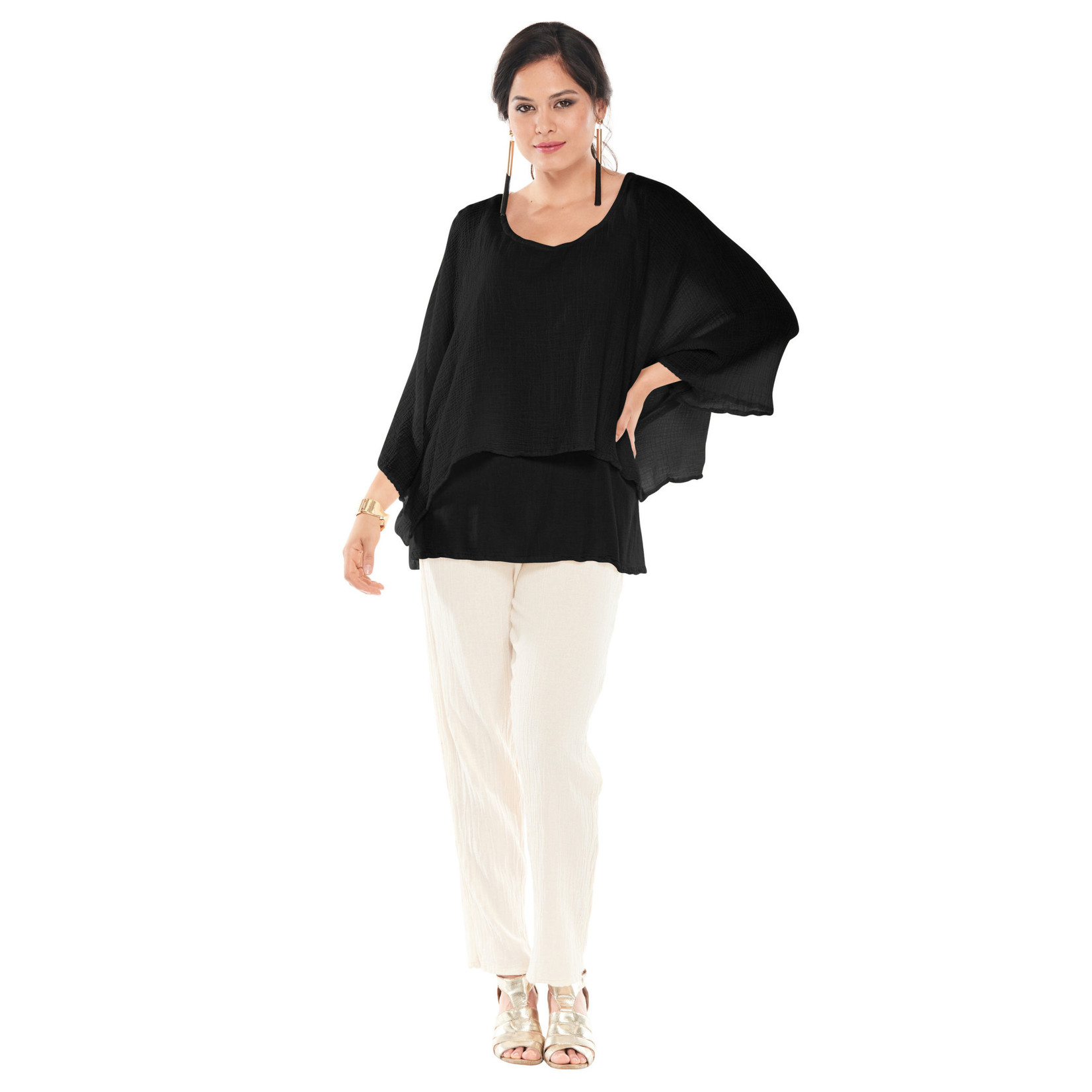 Oh My Gauze Twins Top w/ Double Layering and Flowing Sleeves