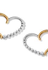 Brighton Sparkle Heart Leverback Hoop Earrings