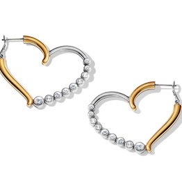 Brighton Sparkle Heart Leverback Hoop Earrings