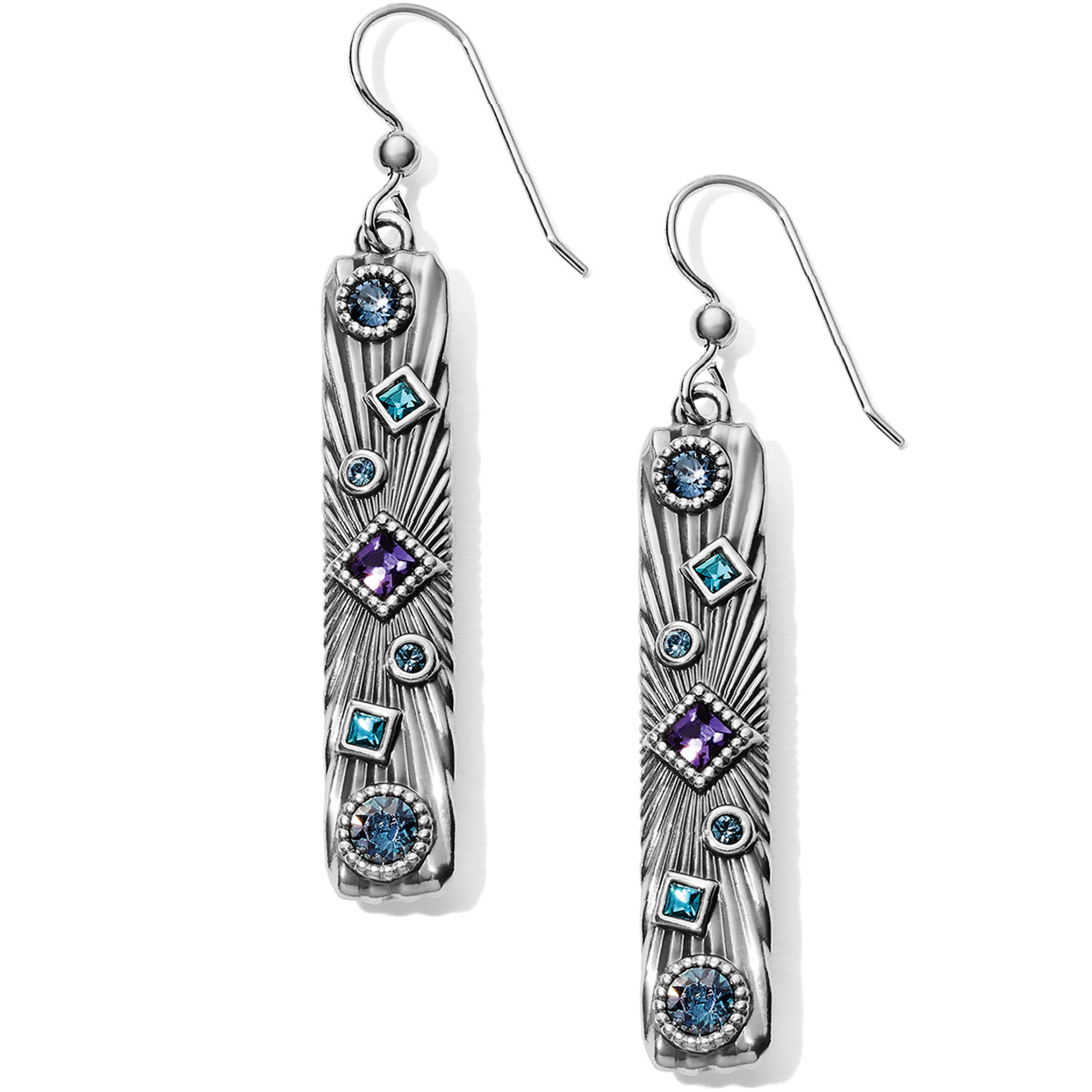 Brighton Halo Rays Bar French Wire Earrings Tanzanite