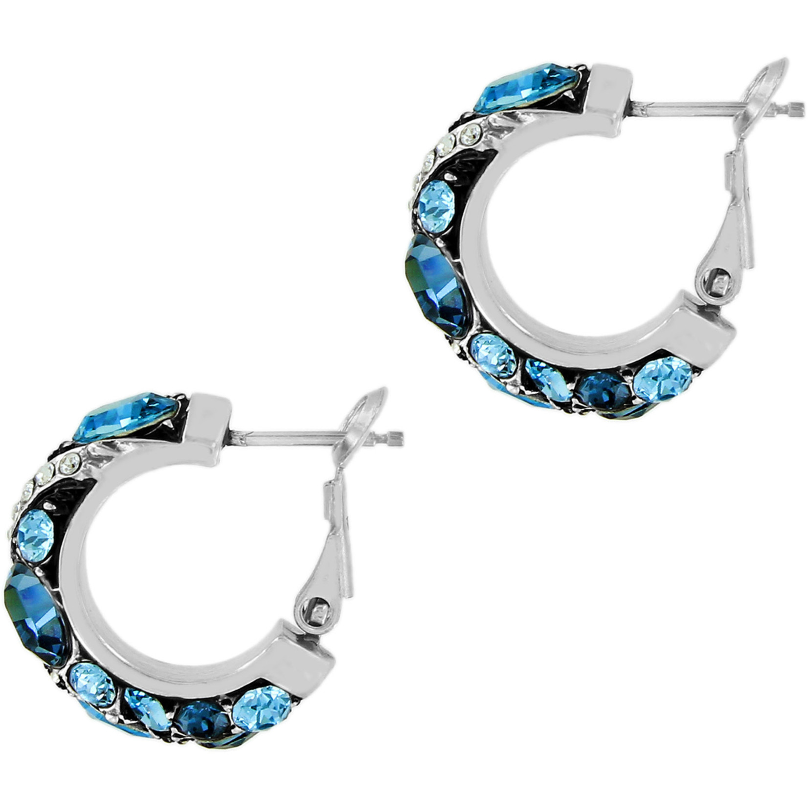 Brighton Trust Your Journey Hoop Earrings Silver-Blue