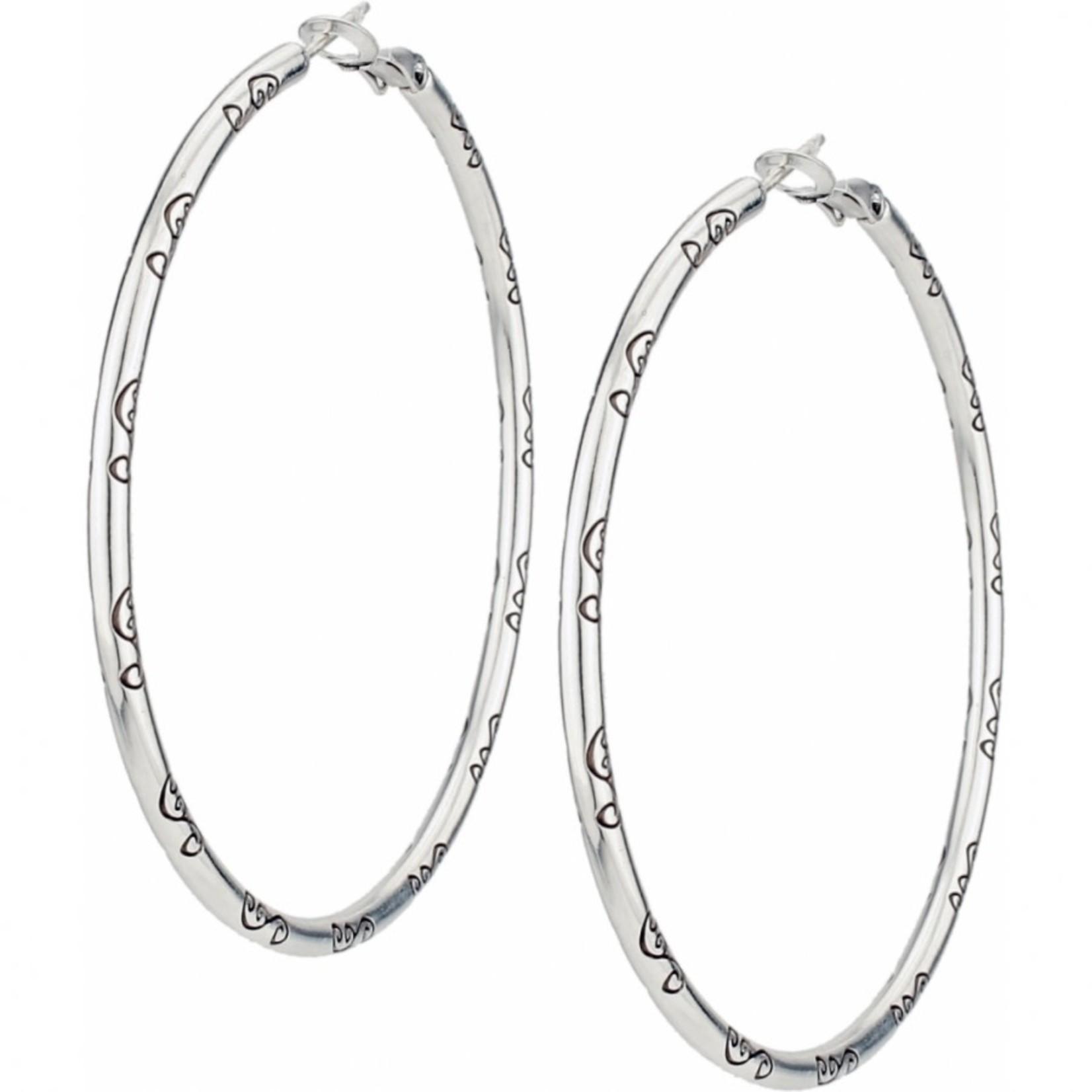 Brighton Grande Hoop Charm Earrings Silver