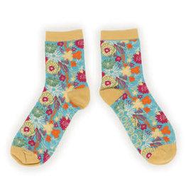 Powder Socks~LadiesAnkle~Teal~Modern Floral