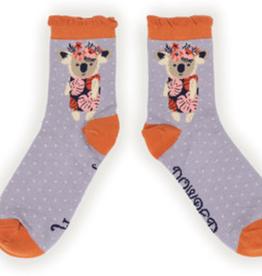 Powder Socks~LadiesAnkle~Floral Koala