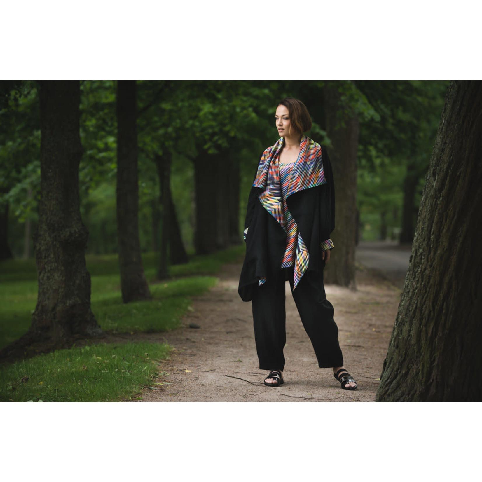 AIDA Sheer Linen Jacket w/MultiColorZigZagStripes