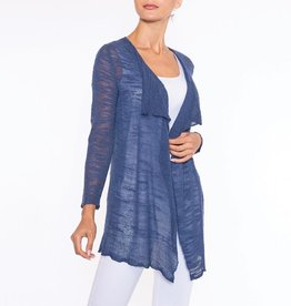 Knit Denim Color Cardigan w/Longer Front Hem