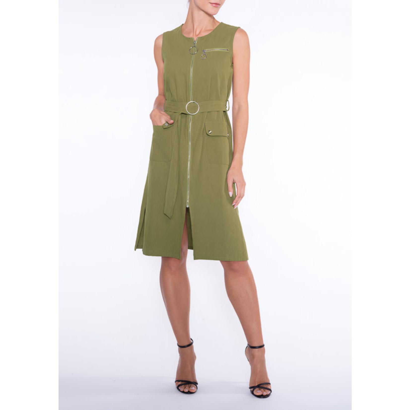 Khaki ZipUp Dress w/ Front Pockets
