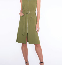 Khaki ZipUp Dress w/ Front Pockets