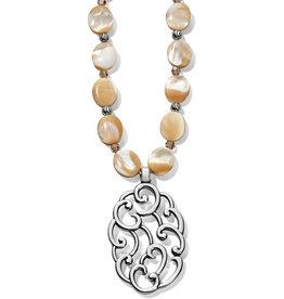 Brighton Barbados Nuvola Shell Long Necklace Silver-Pearl OS