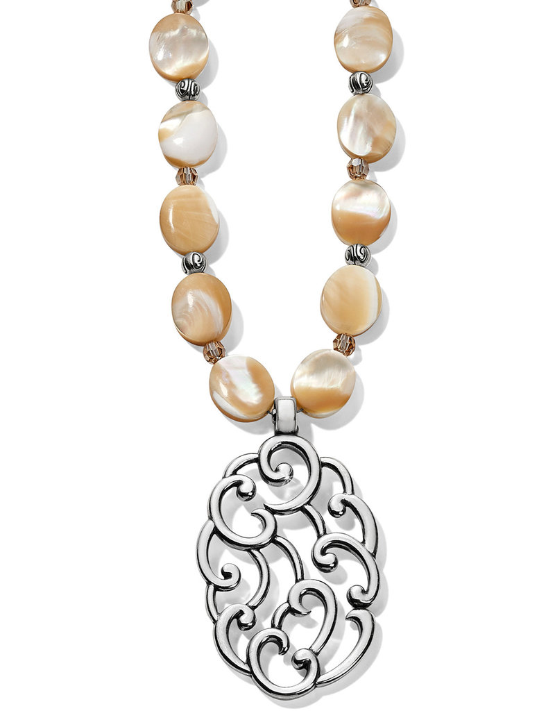 Brighton Barbados Nuvola Shell Long Necklace Silver-Pearl OS