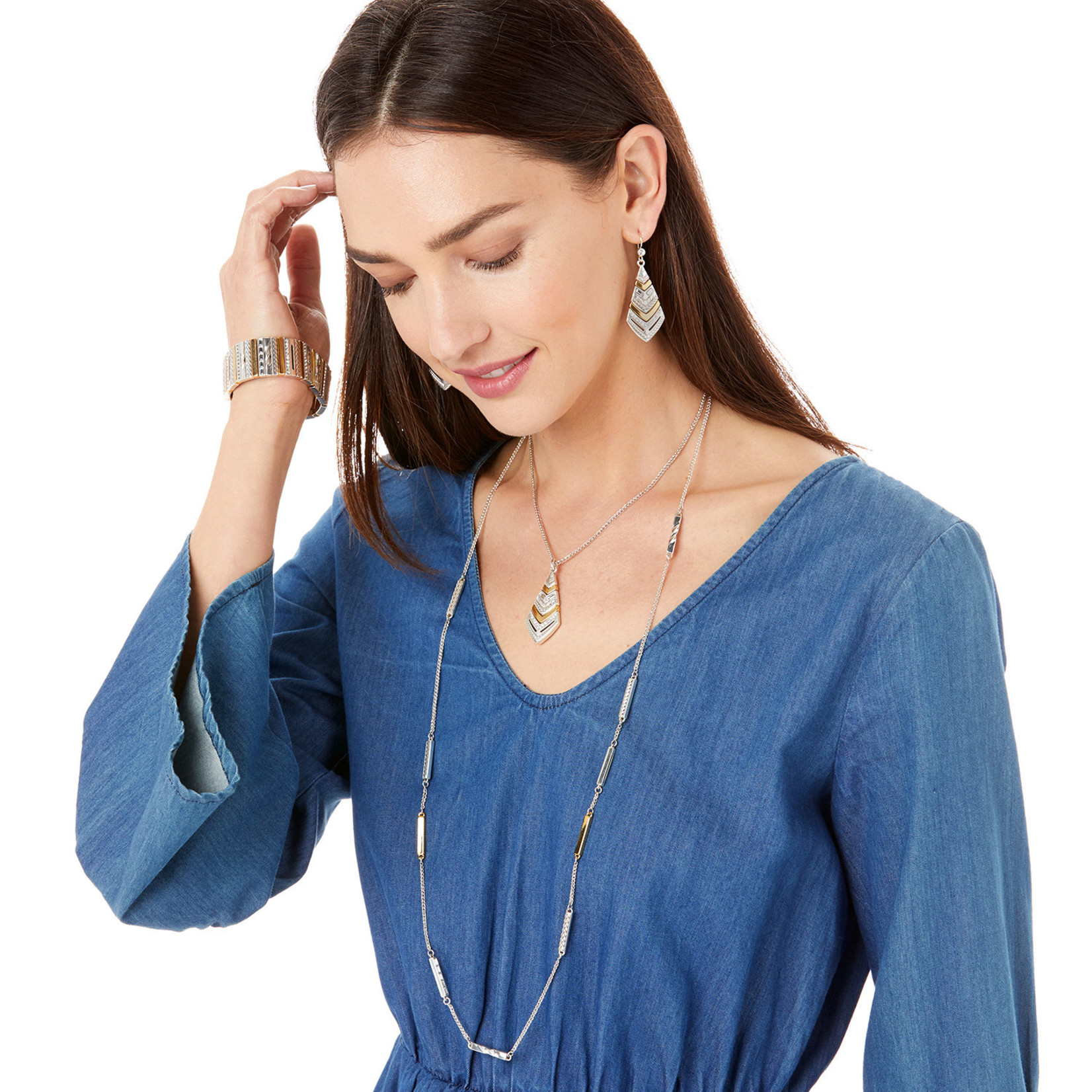 Brighton Tapestry Long Necklace Silver-Gold