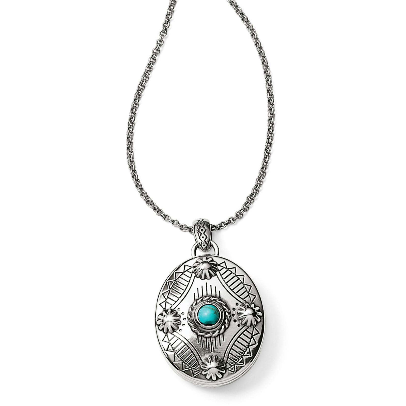 Brighton Southwest Dream Oval Locket Necklace Turquoise