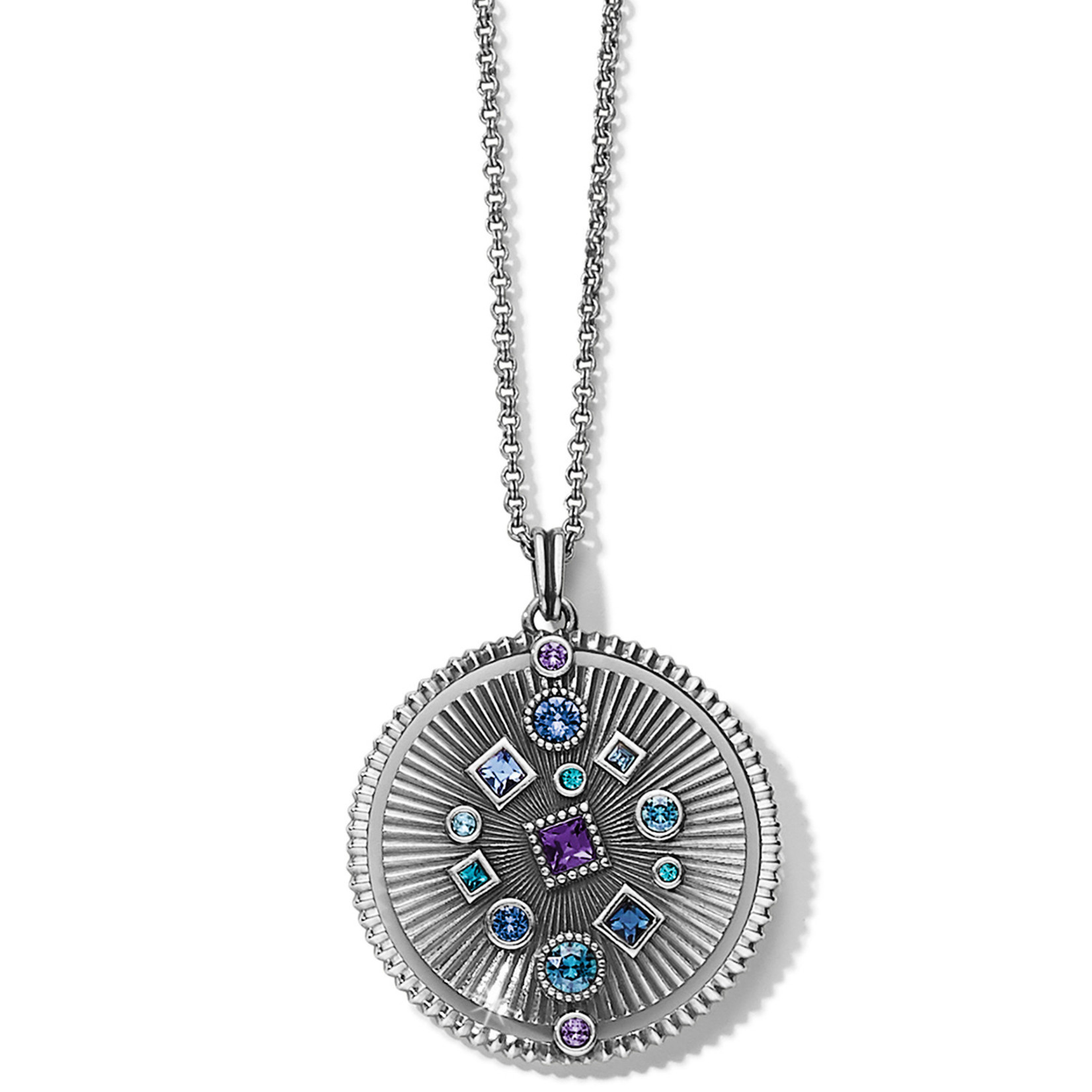 Brighton Halo Rays Round Pendant Necklace Tanzanite