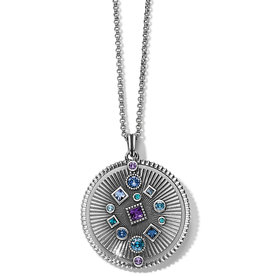 Halo Rays Round Pendant Necklace Tanzanite