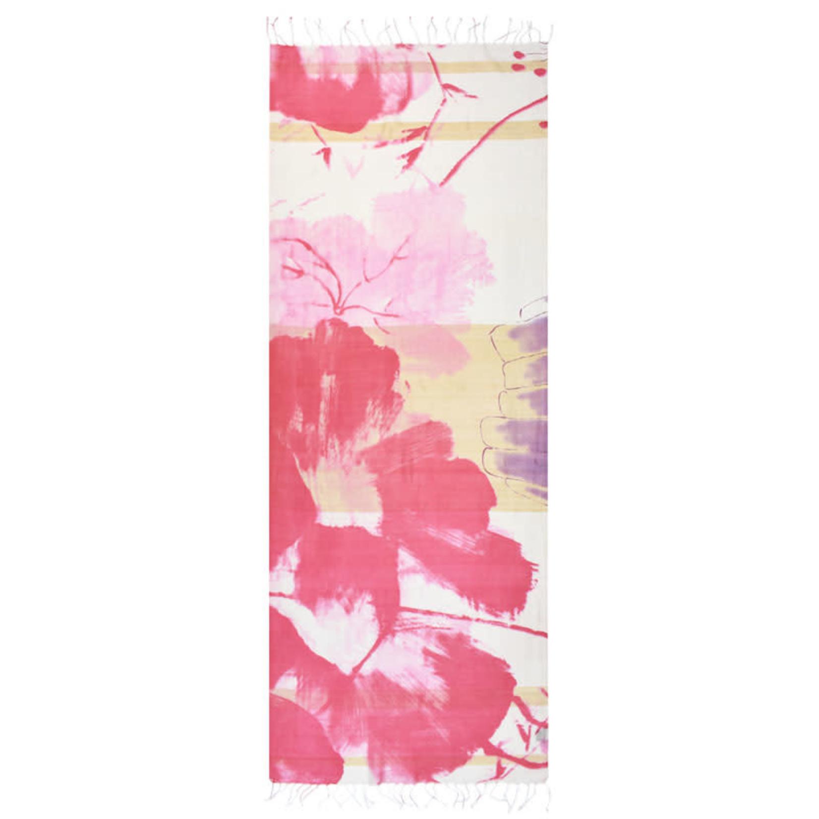 100%HandwovenSilk JapaneseBrushStroke Floral Pink/White