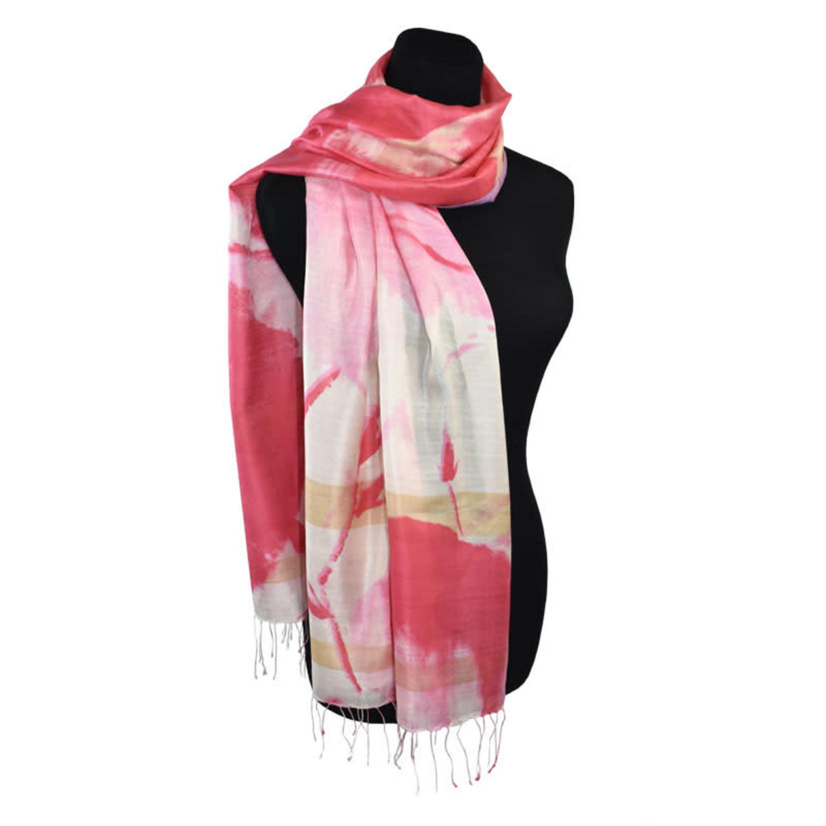 100% Handwoven Silk Japanese Brush Stroke Floral Pink/White
