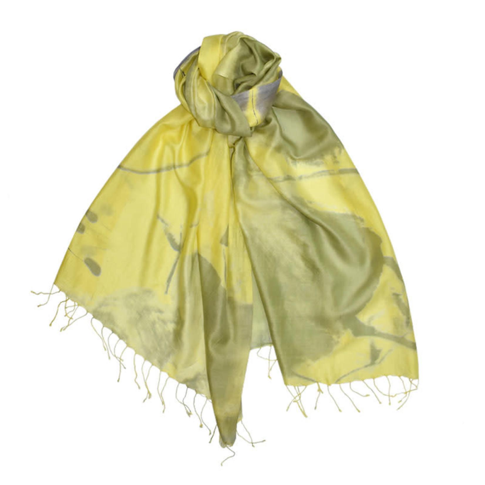 100%HandwovenSilk/JapaneseBrushStroke/Floral/Yellow/Green