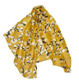 Primrose Yellow Floral Scarf of 100% Modal Cotton