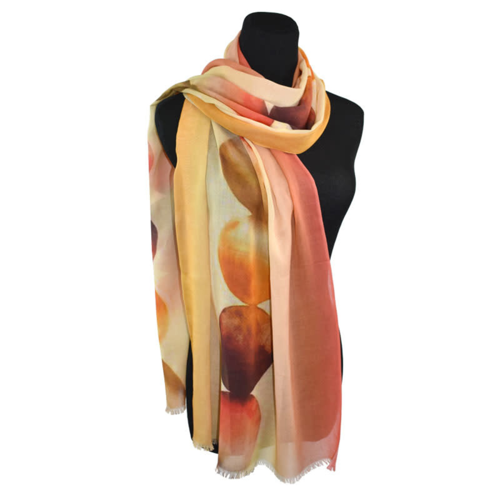 Watercolor Dots Ombre Border Orange Scarf on Lightweight Cotton