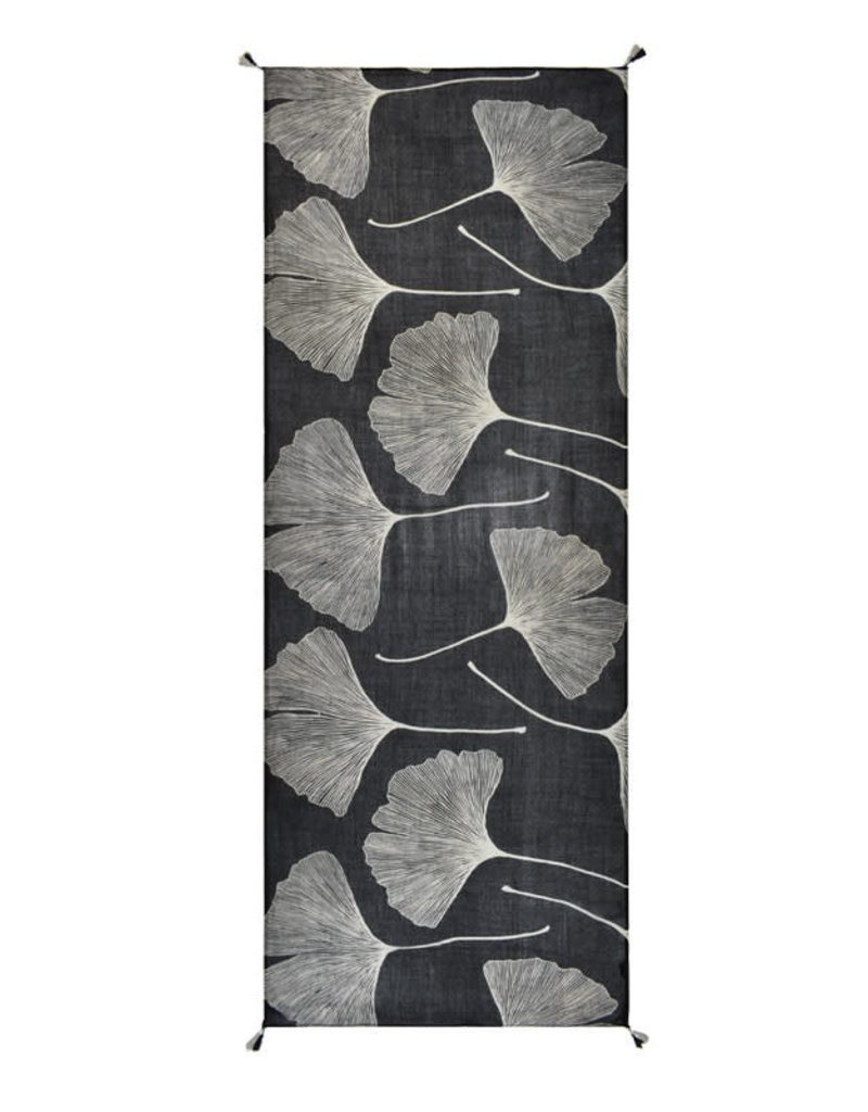 Ginko Leaves White On Black 100% Viscose Scarf