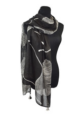 Ginko Leaves Black/White 100% Viscose Scarf