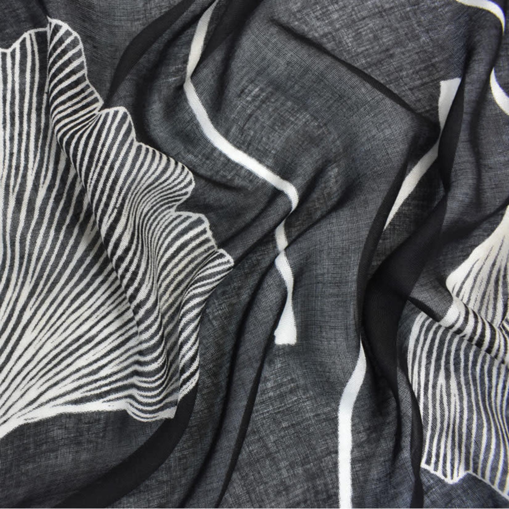 Ginko Leaves White On Black 100% Viscose Scarf