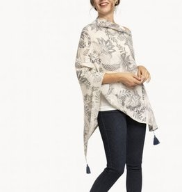 Spartina Beach Field Blooms Cream Floral Stencil Poncho