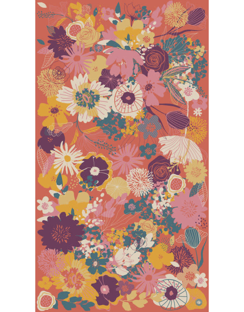 Powder Modern Floral Print Scarf Tangerine