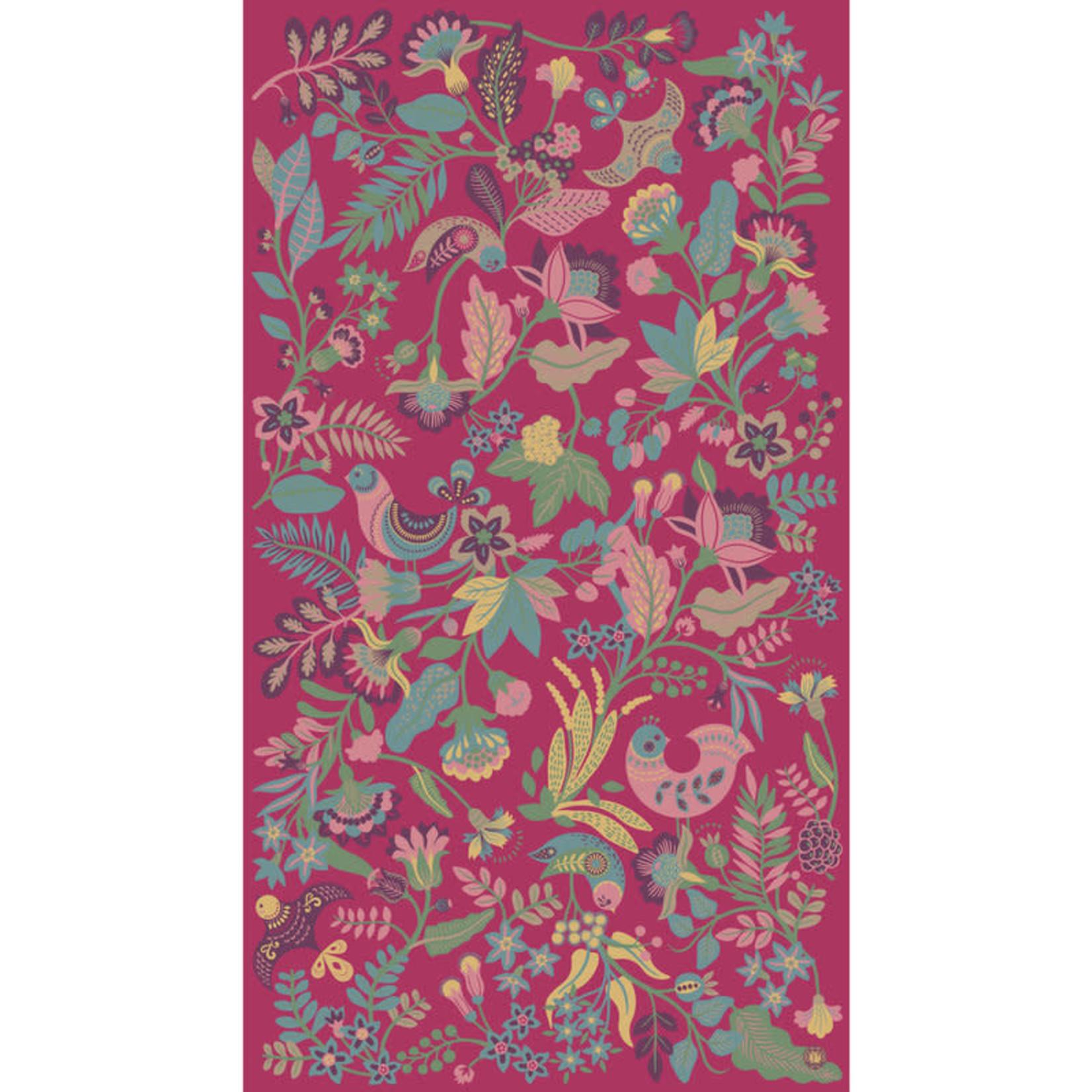Powder South American Floral Print Fuchsia Scarf