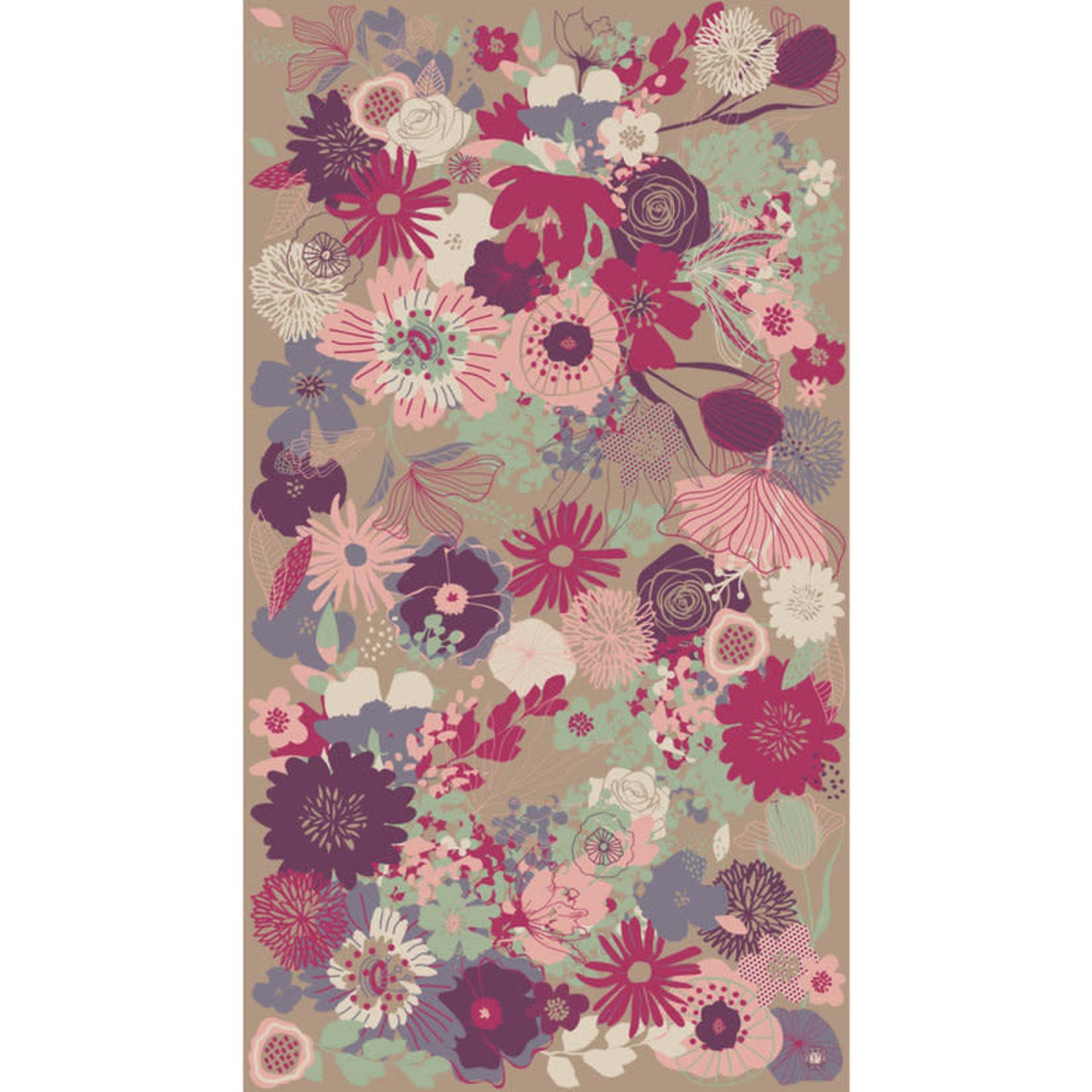 Powder Modern Floral Print Scarf Stone