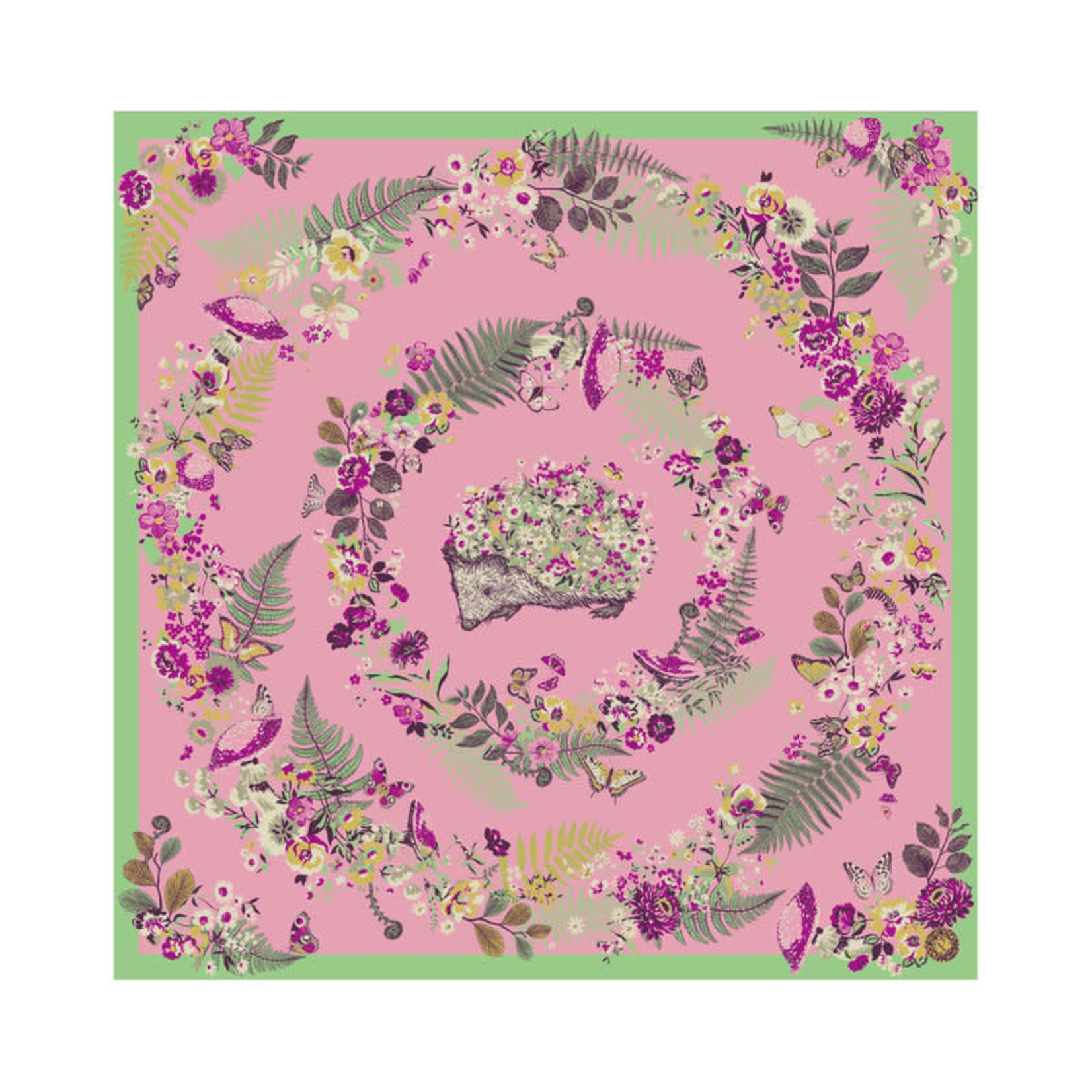 Powder Floral Hedgehog Square Satin Scarf
