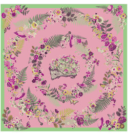 Powder Floral Hedgehog Square Satin Scarf