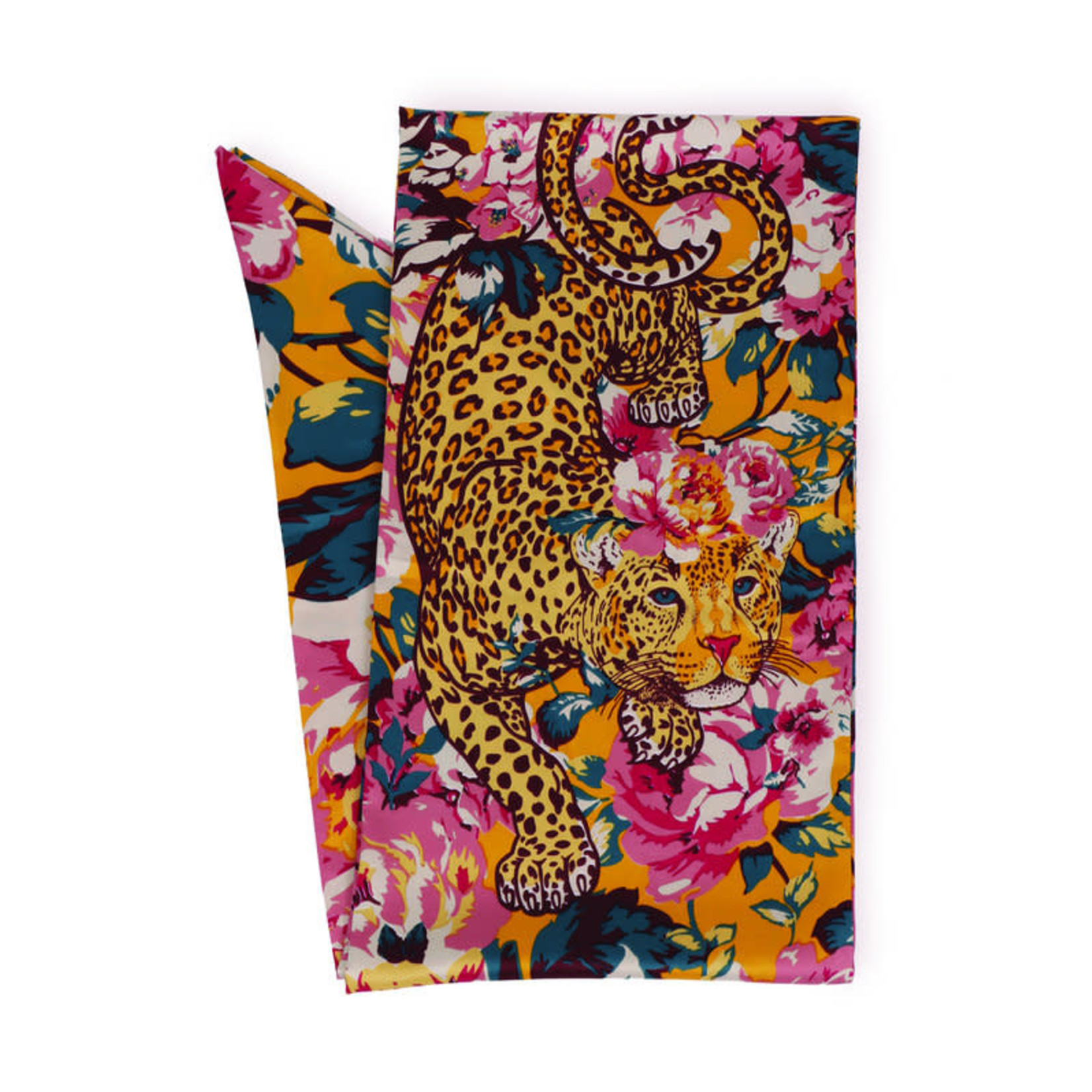 Powder Leopard Floral 100% Poly Print Neck Scarf
