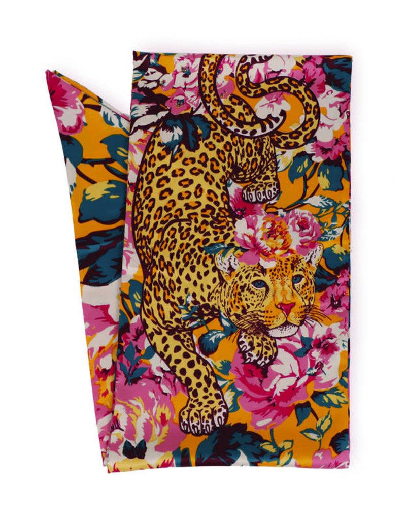 Powder Leopard Floral 100% Poly Print Neck Scarf