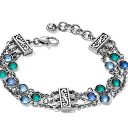 Brighton Elora Gems Tri Strand Bracelet Silver-Blues