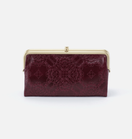 HOBO Lauren Deep Plum Embossed Leather Wallet/Clutch