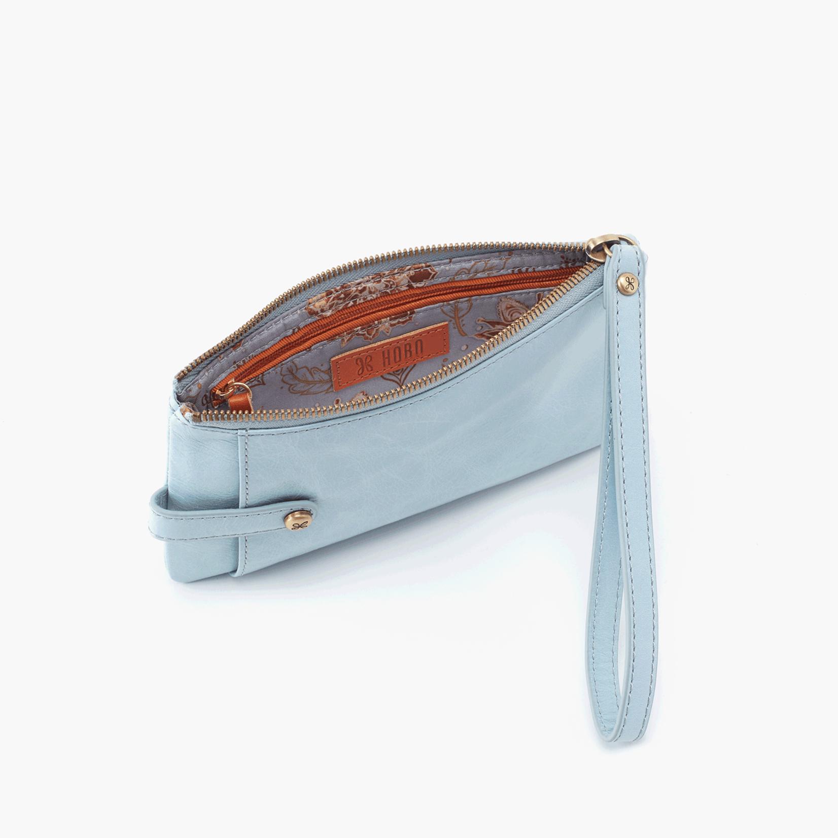 HOBO King Whisper Blue Vintage Hide Leather Wristlet