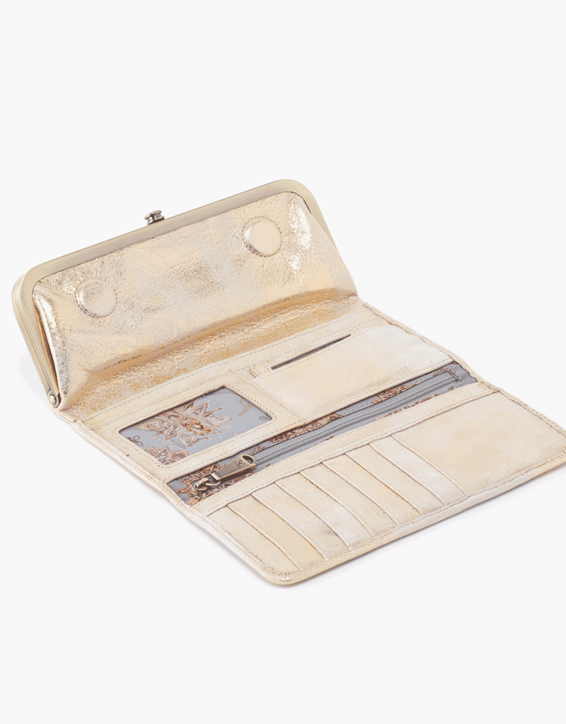 HOBO Rachel Distressed Gold Leather Foldover Wallet