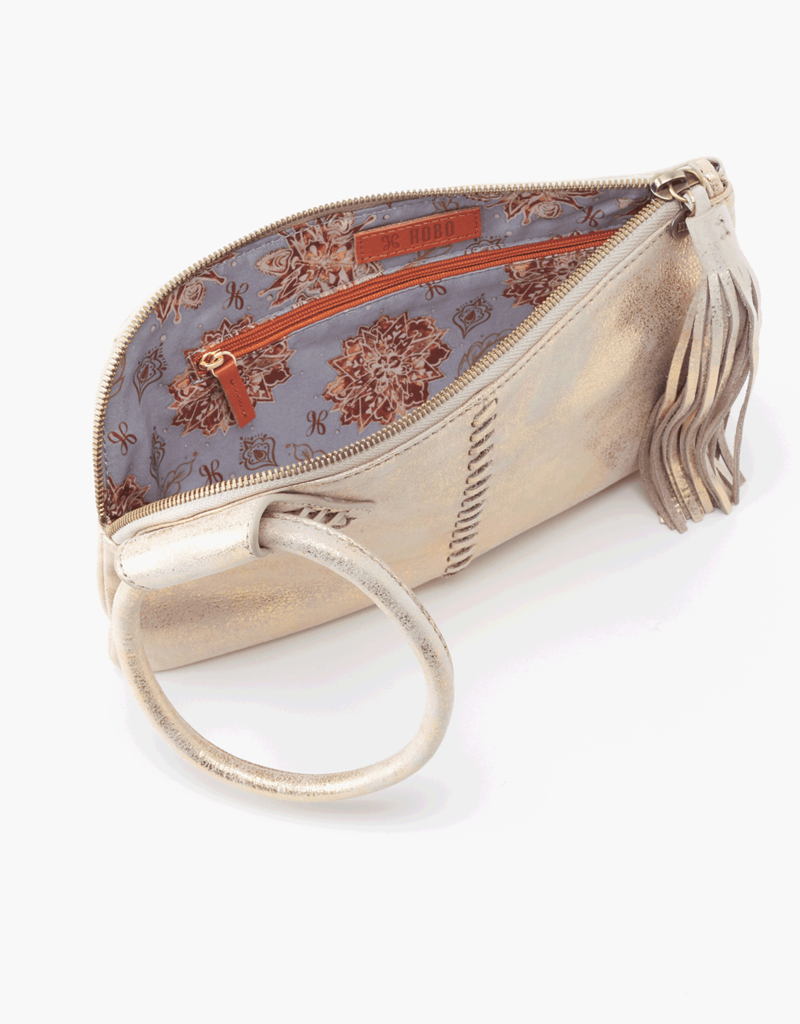 HOBO Sable Distressed Gold Leather Wristlet w/Loop